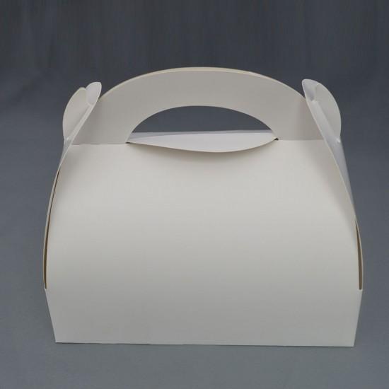 Cutie prajituri 17x10cm alba cu toarta